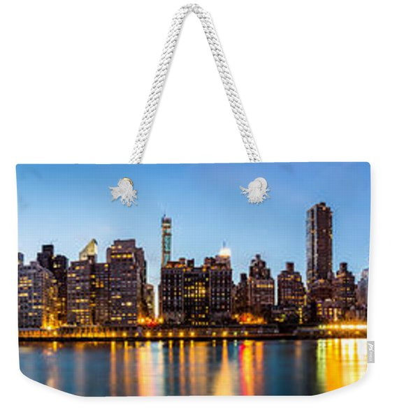 Weekender Tote Bag featuring the photograph Manhattan Panorama And Queensboro Bridge by Mihai Andritoiu