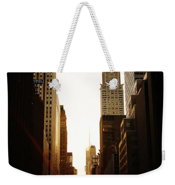 Manhattanhenge Sunset And The Chrysler Building  Weekender Tote Bag