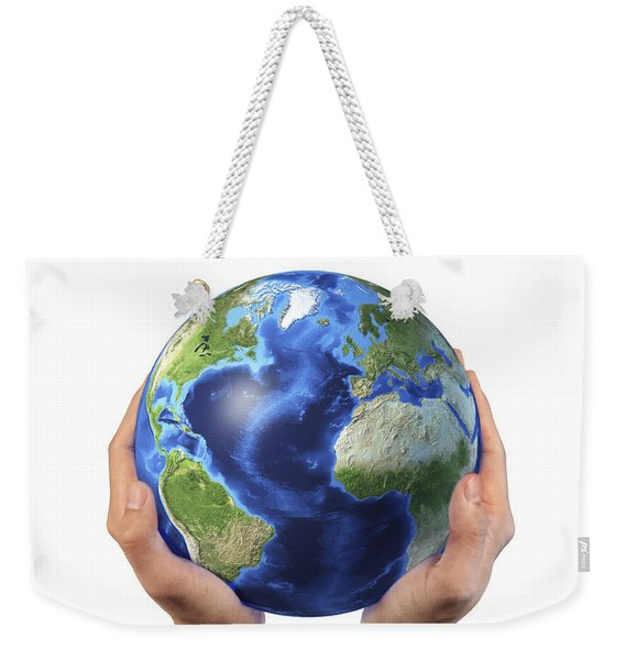 Mans Hands Holding The Planet Earth Weekender Tote Bag
