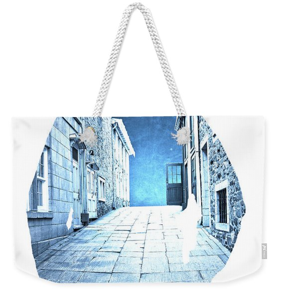 Man's Profile Silhouette With Old City Streets Weekender Tote Bag
