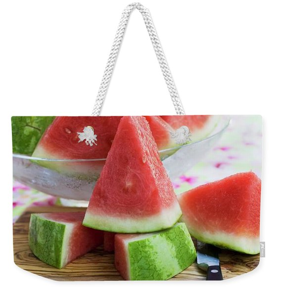 Many Pieces Of Watermelon In A Glass Bowl Weekender Tote Bag