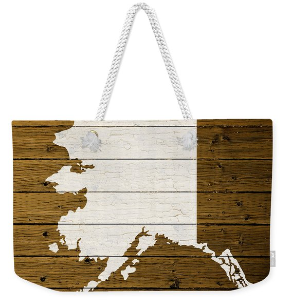 Map Of Alaska State Outline White Distressed Paint On Reclaimed Wood Planks. Weekender Tote Bag