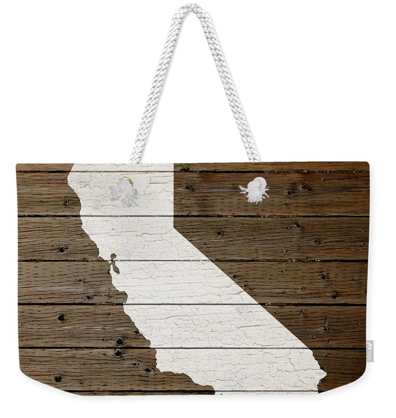 Map Of California State Outline White Distressed Paint On Reclaimed Wood Planks Weekender Tote Bag