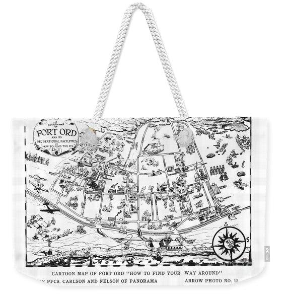 Map Of Fort Ord Army Base Monterey California Circa 1950 Weekender Tote Bag