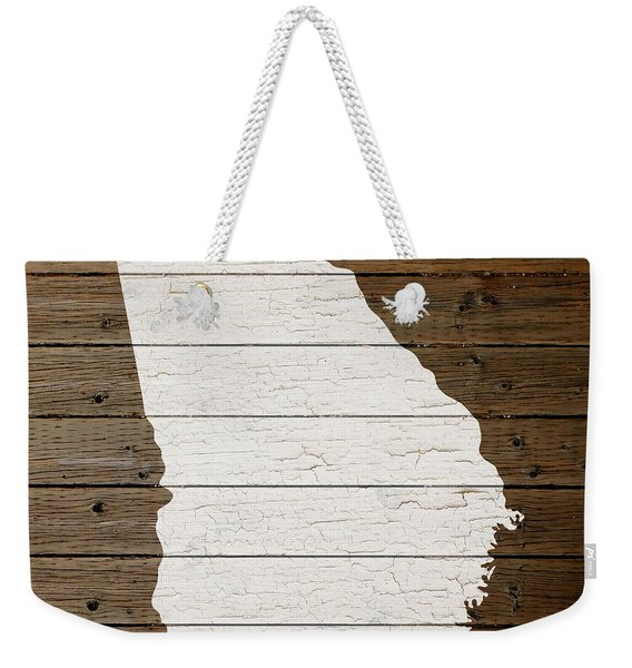 Map Of Georgia State Outline White Distressed Paint On Reclaimed Wood Planks Weekender Tote Bag
