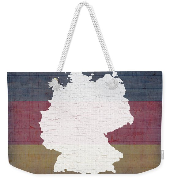Map Of Germany In White Old Paint On German Flag Barn Wood Weekender Tote Bag