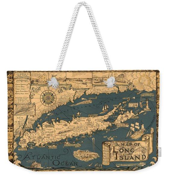 Map Of Long Island Weekender Tote Bag