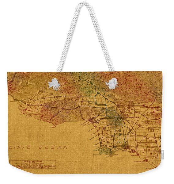 Map Of Los Angeles Hand Drawn And Colored Schematic Illustration From 1916 On Worn Parchment Weekender Tote Bag
