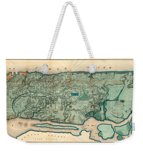 Map Of Manhattan Weekender Tote Bag