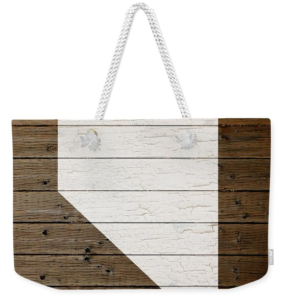 Map Of Nevada State Outline White Distressed Paint On Reclaimed Wood Planks Weekender Tote Bag