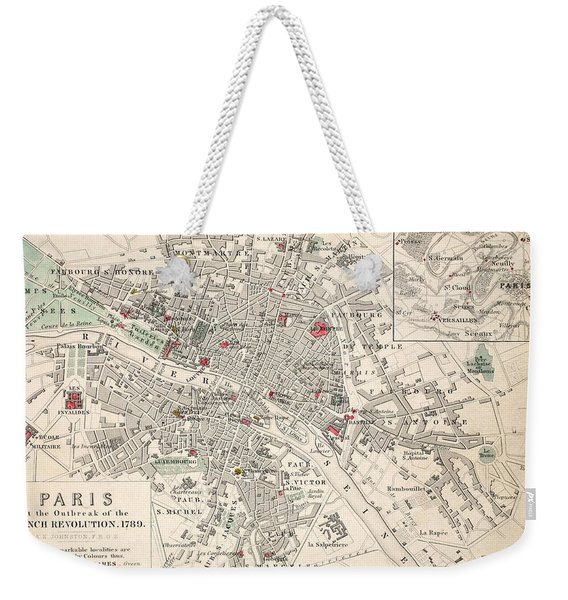 Map Of Paris At The Outbreak Of The French Revolution Weekender Tote Bag