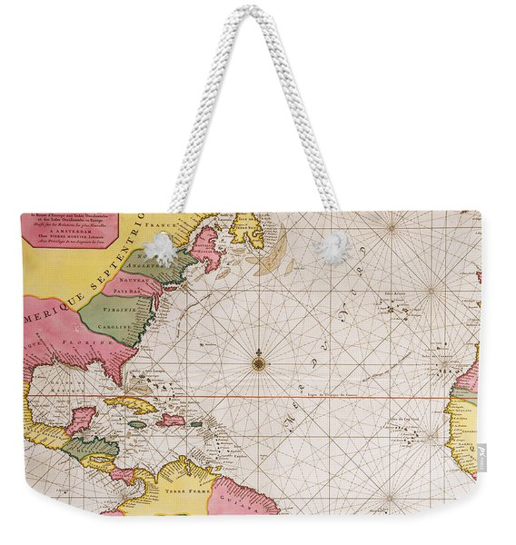 Map Of The Atlantic Ocean Showing The East Coast Of North America The Caribbean And Central America Weekender Tote Bag