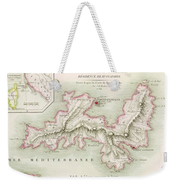 Map Of The Island Of Elba Weekender Tote Bag