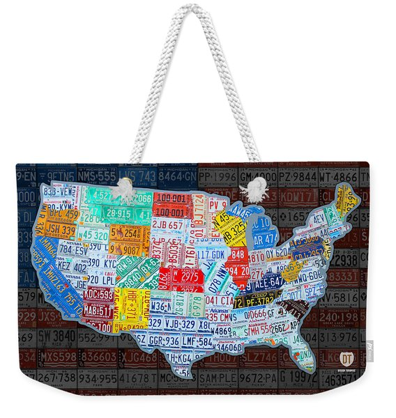 Map Of The United States In Vintage License Plates On American Flag Weekender Tote Bag