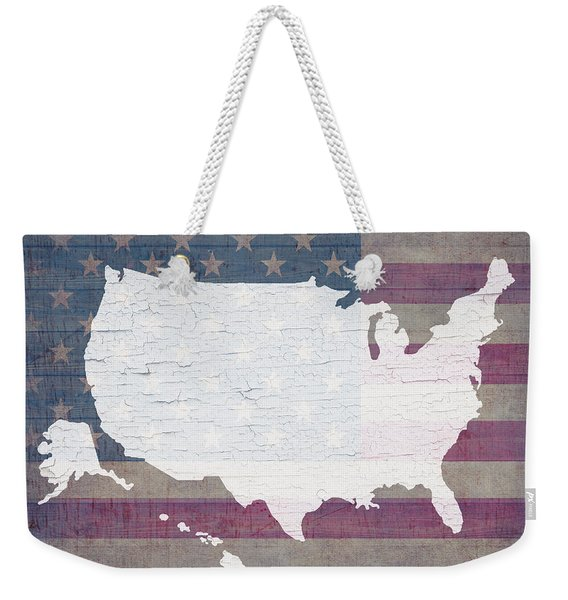 Map Of United States In White Old Paint On American Flag Barn Wood Weekender Tote Bag