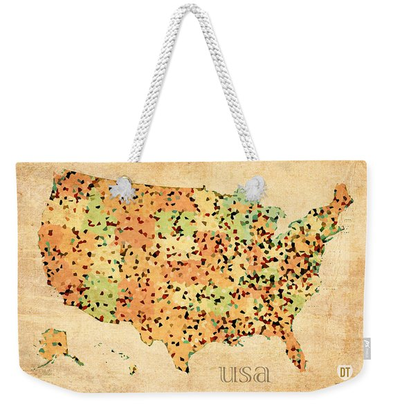 Map Of United States Of America With Crystallized Counties On Worn Parchment Weekender Tote Bag