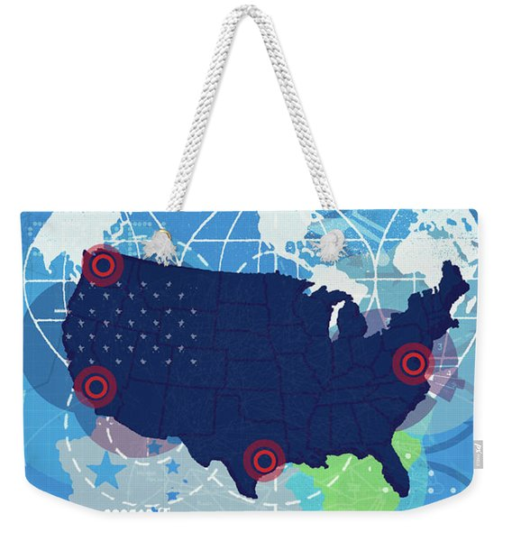 Map Of United States With Ports Weekender Tote Bag