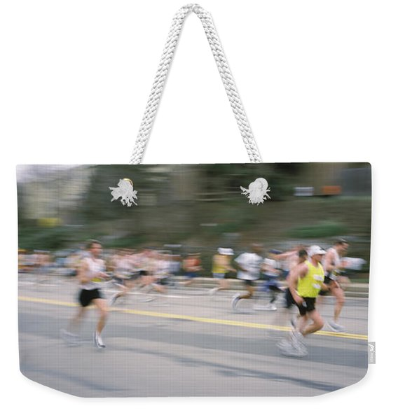 Marathon Runners On A Road, Boston Weekender Tote Bag