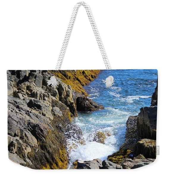 Weekender Tote Bag featuring the photograph Marginal Way Crevice by Jemmy Archer