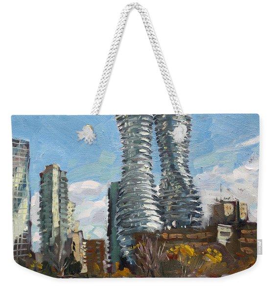 Marilyn Monroe Towers In Mississauga Weekender Tote Bag