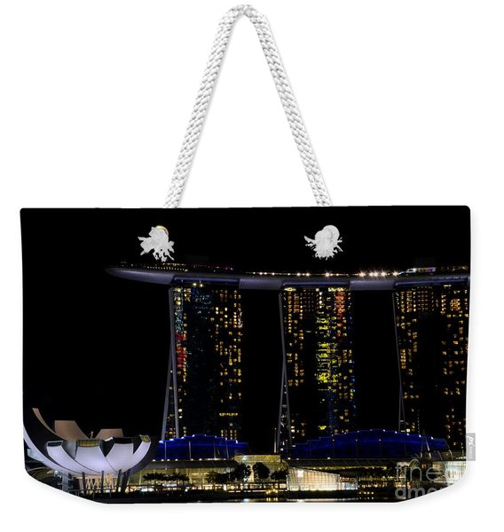 Marina Bay Sands Integrated Resort Hotel And Casino And Artscience Museum Singapore Marina Bay Weekender Tote Bag