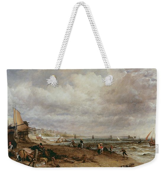 Marine Parade And Old Chain Pier, 1827 Oil On Canvas Weekender Tote Bag