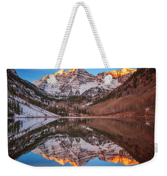 Maroon Bells Alpenglow Weekender Tote Bag
