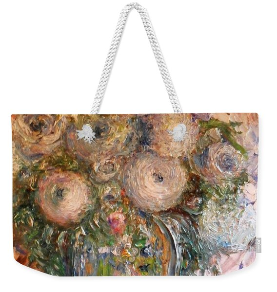 Weekender Tote Bag featuring the painting Marshmallow Flowers by Laurie Lundquist