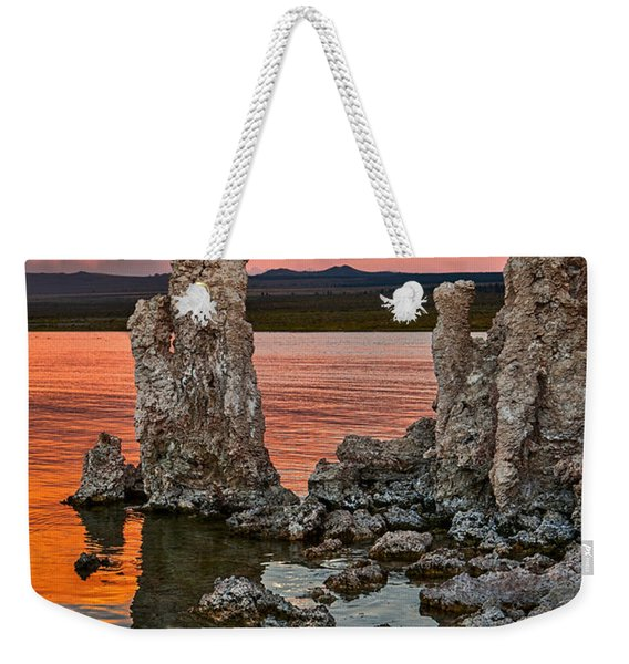 Martian Moonrise - Sunset View Of The Strange Tufa Towers Of Mono Lake With The Moonrise. Weekender Tote Bag