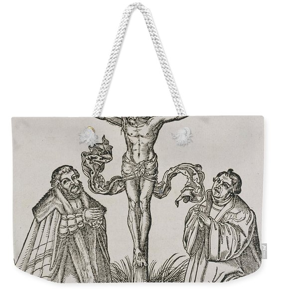 Martin Luther And Frederick IIi Of Saxony Kneeling Before Christ On The Cross Weekender Tote Bag