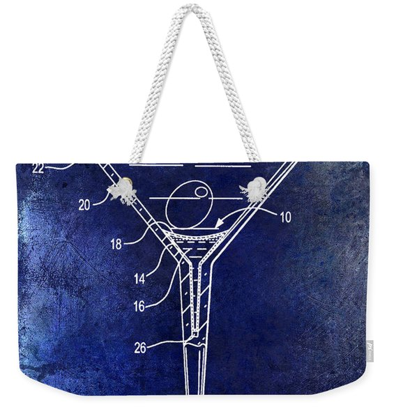 Martini Glass Patent Drawing Blue Weekender Tote Bag