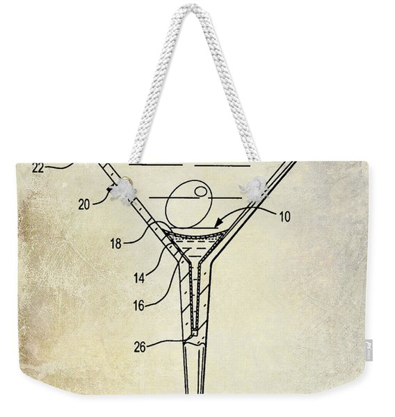 Martini Glass Patent Drawing Weekender Tote Bag