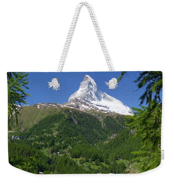 Matterhorn Mountain Rising Above Town Weekender Tote Bag