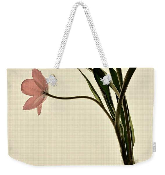 Mauve Tulips In Glass Vase Weekender Tote Bag