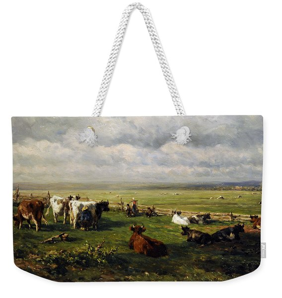 Meadow Landscape With Cattle, C. 1880, By Willem Roelofs 1822-1897 Weekender Tote Bag