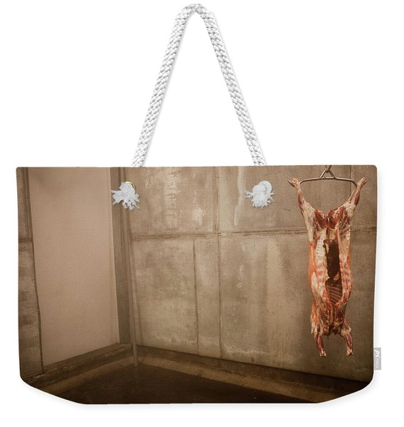 Meat Carcass In A Freezer, No People Weekender Tote Bag