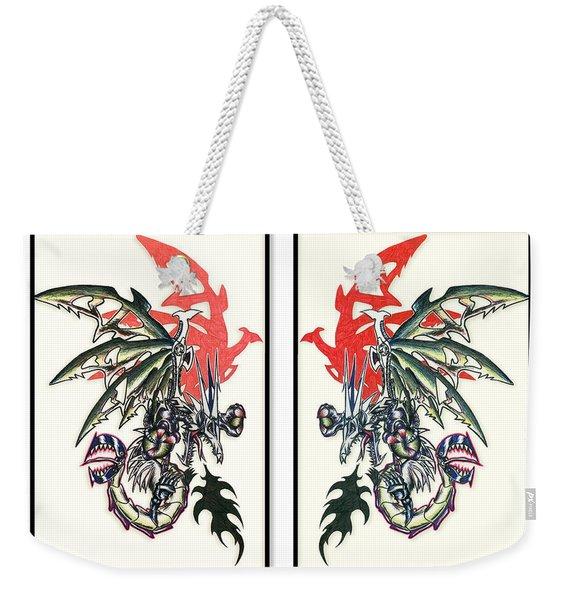 Mech Dragons Collide Weekender Tote Bag
