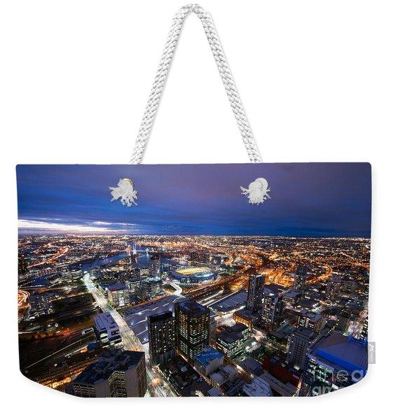 Melbourne At Night Weekender Tote Bag