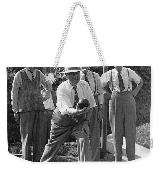 Men Playing Bocce Ball Weekender Tote Bag