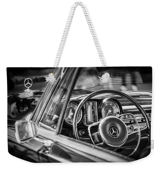 Weekender Tote Bag featuring the photograph Mercedes-benz 250 Se Steering Wheel Emblem by Jill Reger