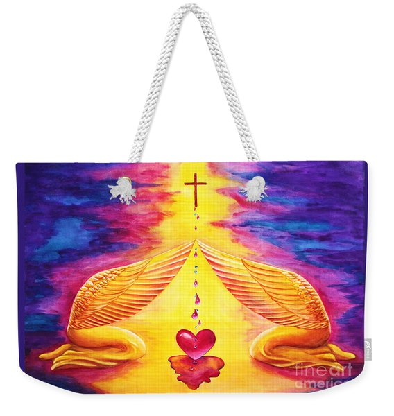 Weekender Tote Bag featuring the painting Mercy by Nancy Cupp