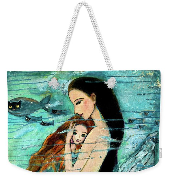 Mermaid Mother And Child Weekender Tote Bag