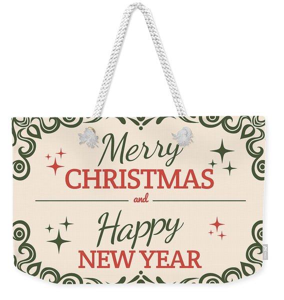Merry Christmas Vintage Card Weekender Tote Bag