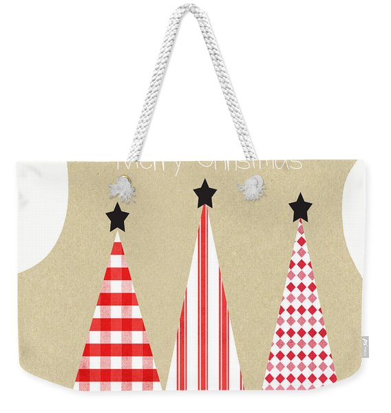 Merry Christmas With Red And White Trees Weekender Tote Bag