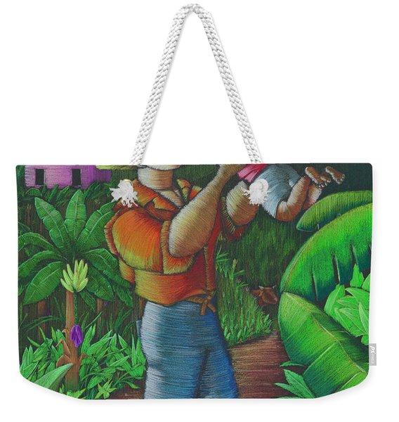 Weekender Tote Bag featuring the painting Mi Futuro Y Mi Tierra by Oscar Ortiz