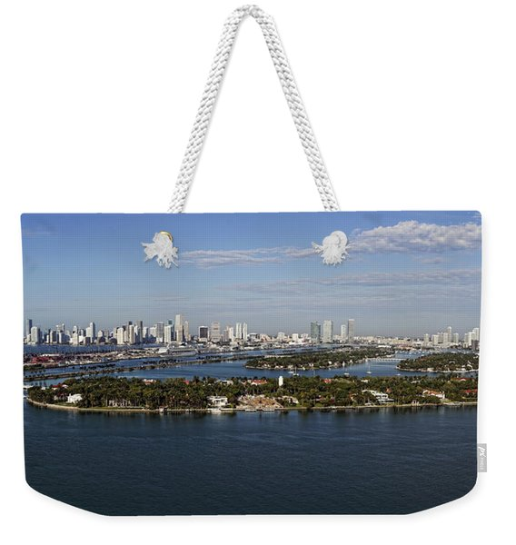 Miami And Star Island Skyline Weekender Tote Bag