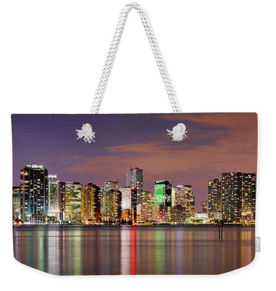 Miami Skyline At Dusk Sunset Panorama Weekender Tote Bag