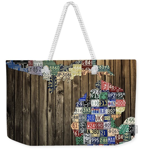 Michigan Counties State License Plate Map Weekender Tote Bag