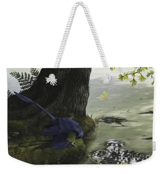 Microraptor Gui Eating A Small Fish Weekender Tote Bag
