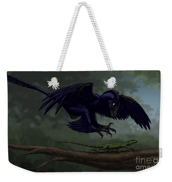 Microraptor Hunting A Small Lizard Weekender Tote Bag